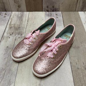 NWOT Keds Pink Glitter Lace-Up Sneakers Size 7
